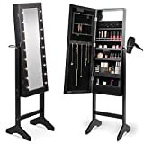Beautify Mirrored Jewelry Makeup Armoire with LED Lights Floor Standing Organizer Cabinet with Internal and External Mirror Black
