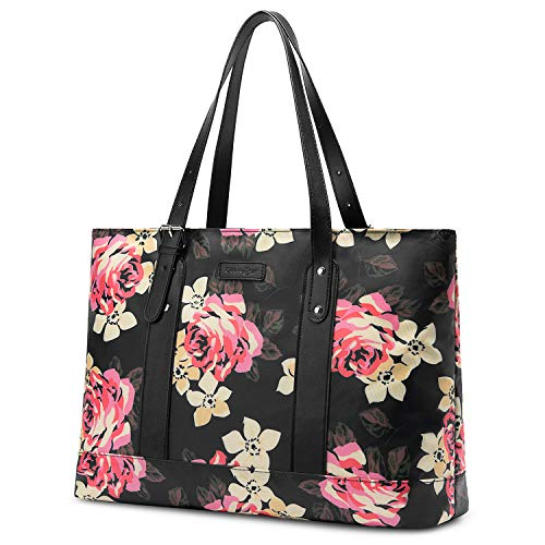Nylon Classic Briefcase - Utotebag Laptop Tote Bag for Womens, 15.6 Inch Laptop Tote Bag Floral Shoulder Bag Lightweight Nylon Briefcase Classic Handbag Handle Adjustable Work Travel Business Bag(Black Peony)