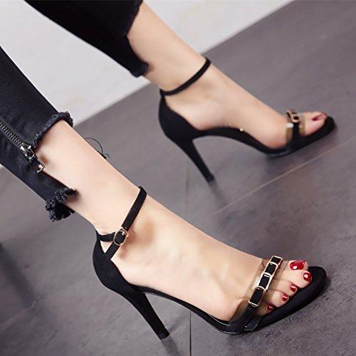 YMFIE Verano Zona pelúcida Temperamento Moda Zapatos de tacón Lady'S Tobillo Toe Toe Sandalias. black