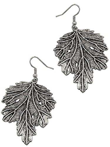 Large Maple Leaf Earrings Burnished Silver Boxed (#54)