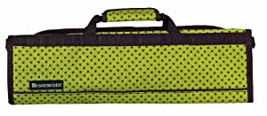 Messermeister 8-Pocket Padded Knife Roll, Green with Brown Dots