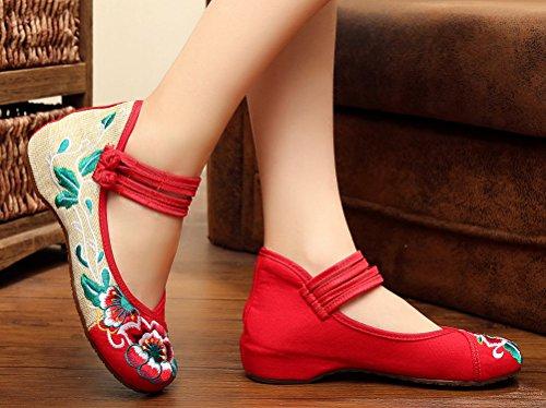 Icegrey Slip On Chaussures Femmes Fait Main Broderie Fleur Deux Bracelet Basse Wedge Mary Jane Chaussures Rouge 38