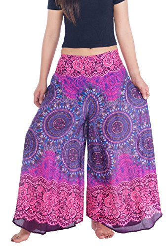 Lannaclothesdesign Womens Lounge Palazzo Pants Wide Legs S M L XL Sizes (XL, Purple Rose Circle) Circles Capri Pants