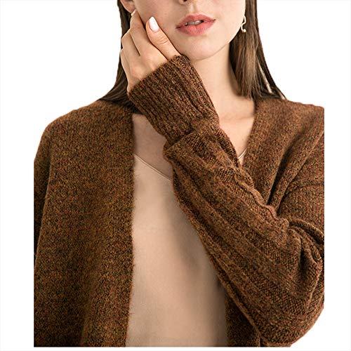 Maglia Donna Autunno Alla Moda E A Doppio Wodeninek Con Inverno Mohair Tinta Lunga Brown Semplice Da In Unita Cardigan gray m OYqEw6xX