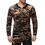 Moserian Men's Autumn Winter Bandage Camouflag Long Sleeve Pullover Top Blouse