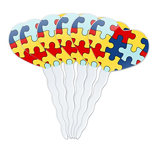 Graphics and More Autism Awareness Diversity Puzzle Pieces Heart Love Cupcake Picks Toppers Decoration Set of 6 ()