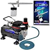 Master Airbrush Siphon Feed Airbrushing System - High Performance Multi-purpose Dual-action Airbrush Kit with Hose and a 1/6hp Single Piston Air Compressor Includes a How to Airbrush Training Book