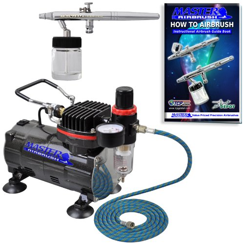 Professional Master Airbrush Multi-Purpose Siphon Feed Airbrushing System Kit - Model S68 Siphon Feed Dual-Action Airbrush with a 0.35 mm Tip and 3/4 oz. Fluid Cup, Hose, Powerful 1/5hp Air Compressor by Master Airbrush