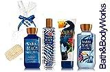 Bath & Body Works WAIKIKI BEACH COCONUT Gift Set – Body Lotion – Body Cream – Fragrance Mist & Shower Gel + FREE Sisal Sponge