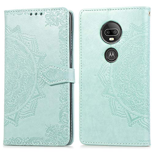 (Cmeka Slim Wallet Kickstand Case for Motorola Moto G7 Plus/Moto G7 3D Relief Mandala Flower Flip Magnetic Leather Back with Card Solts Holder Phone Cover (Mint Green))