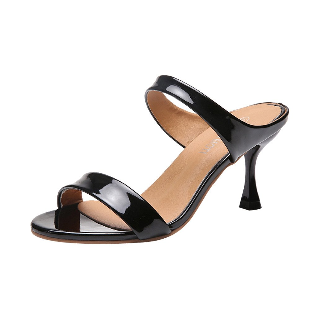 New in Respctful✿Women's Open Toe Casual Slide Sandals Double Straps Chunky Mules High Heels Black