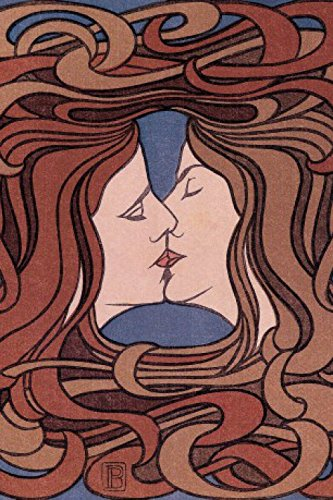 Peter Behrens Poster Adhesive Photo Wall-Print - The Kiss, 1898 (71 x 47 inches) 1898 Photo Print