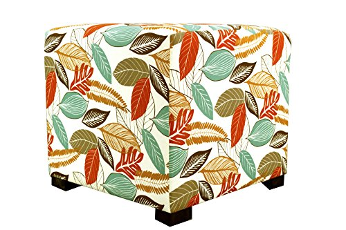 MJL Furniture Designs Merton Collection, Fabric Upholstered Modern Cube Foot Rest Ottoman with 4 Button Tufting, Floral Foliage Series, Coral (Fabric Button Floral)
