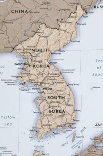 A Map of North and South Korea Journal: Take Notes, Write Down Memories in this 150 Page Lined Journal