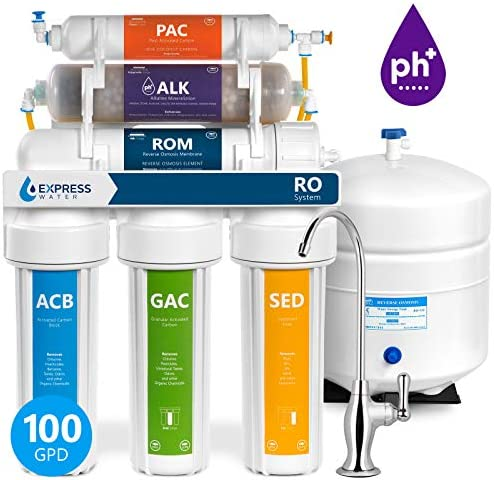Express Water 10 Stage Home Drinking Water Filtration System Alkaline Mineral Antioxidant Reverse Osmosis 100 GPD RO Membrane Deluxe Chrome Faucet Residential Under Sink Water Purification ROALK10D