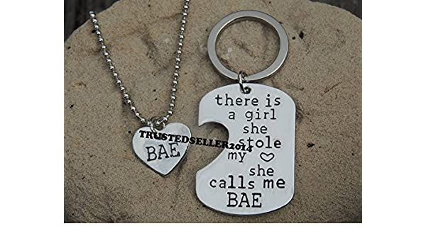 Amazon.com  Hand Crafted Hand Stamped Bae Necklace Keychain Set  Arts 1f4cf06ba7