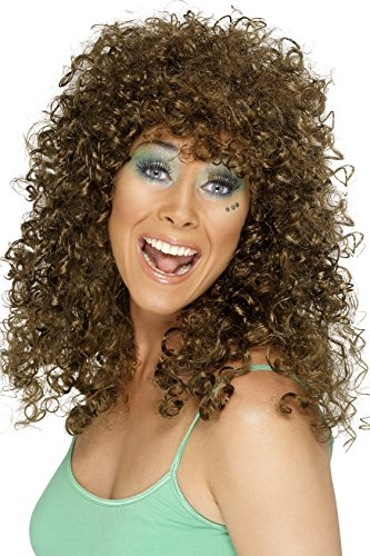 Smiffy's Women's Long Brown Curly Hair Wig, One Size, Boogie Babe Wig, 42066 (Halloween Costumes Curly Hair)