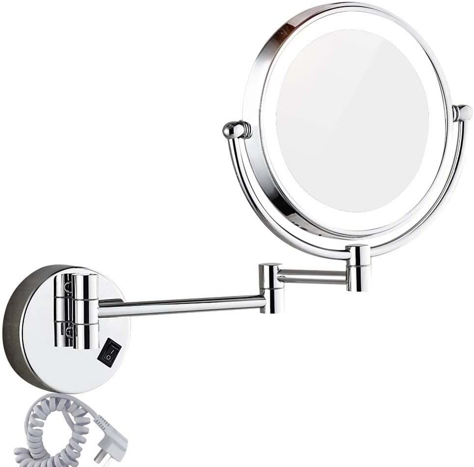 DOWRY Wall mounted LED Lighted Vanity Makeup Mirror with 10x magnification,Double-Sided, On/oFF button Chrome Finish and 8 Inch 360 Swivel, Plug Powered