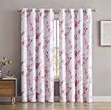 #9: HLC.ME Jasmine Floral Faux Silk 100% Blackout Room Darkening Thermal Insulated Curtain Grommet Panels For Bedroom - Energy Efficient, Complete Darkness, Noise Reducing - Set of 2 (Pink, 52