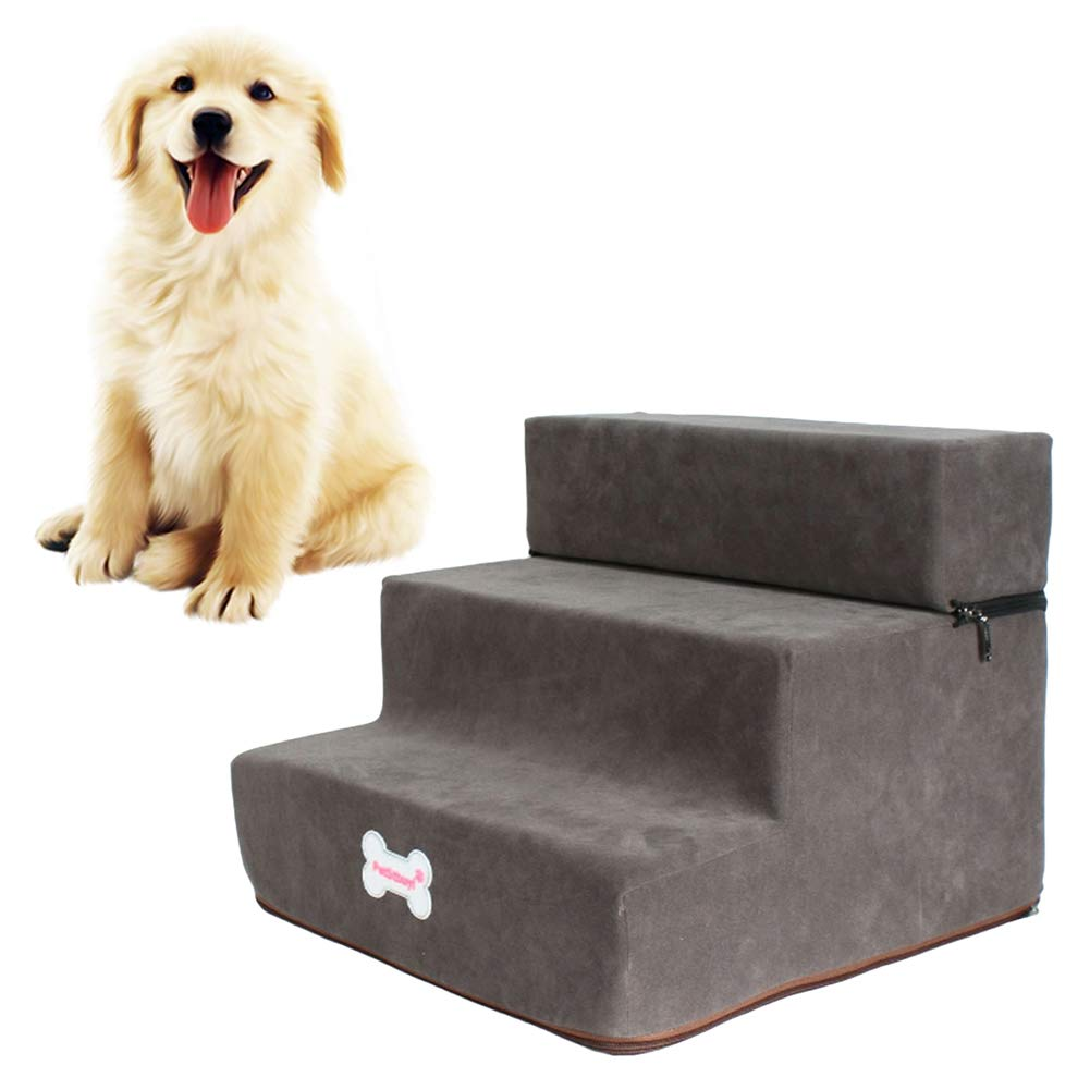 AzsfUfsa53 Pets Dog Ramp Stairs, High Density Foam 2/3 Tiers Pet Bed Steps, Foldable & Wide Pet Sofa Couch Ladder for Small Pets All Cat & Small Medium Size Dogs Choice of Colors Deep Grey by AzsfUfsa53