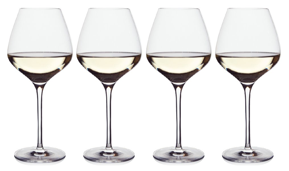 The One Wine Glass - Perfectly Designed Shaped White Wine Glasses For All Types of White Wine By Master Sommelier Andrea Robinson, Premium Set Of 4 Lead Free Crystal Glasses, Break Resistant