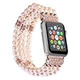 Apple Watch Band, Ritastar Handmade Beaded Elastic Stretch Faux Pearl Bracelet Replacement iWatch Strap Women Girl Wristband for Apple Watch Series 1, Series 2,Series 3,All Version. (Pink-38mm)