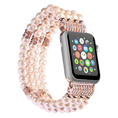 iMYMAX Replacement for Apple Watch Band 38mm Handmade Beaded Elastic Stretch Faux Pearl Bracelet Replacement iWatch Strap/Wristband for Apple Watch Series 3, Series 2, Series 1 - Pink for Women Girl - Beaded Stretch Watch