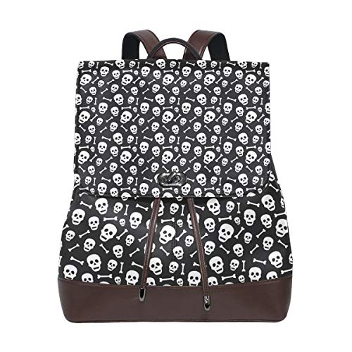 Leather Halloween Pattern With Skull And Bone Backpack Daypack Bag Women ()