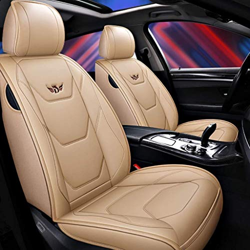 Car seat cover, complete set of front and rear seats, 5 universal leather seats Universal Waterproof seat cover for waterproof (color: beige):