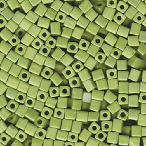 - 20Gr Opaque Chartreuse Matte Ab Miyuki 4mm Square Cube Glass Seed Beads