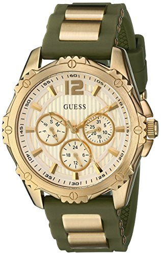GUESS Women s U0325L5 Multi-Function Watch With Green Silicone Strap