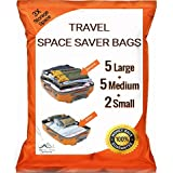12 Pack PREMIUM Travel Space Saver Bags. No Vacuum Needed. 5 Large, 5 Medium & 2 Small bags. Sized for Carry-on and Check-in bags