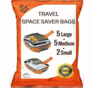 12 pack premium travel space saver bags no vacuum needed 5 large 5 medium 2 - Small space dehumidifier bags set ...
