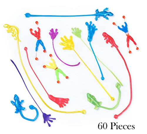 Bulk Toys - Party Favors - 60 Pc Wacky Fun Stretchy Sticky Fingers Toy Assortment Includes; Large Glitter Sticky Hands, 12 Sticky Feet, Dinosaurs, Wall Climbing Men, & Sticky Lizards, Toys for Kids