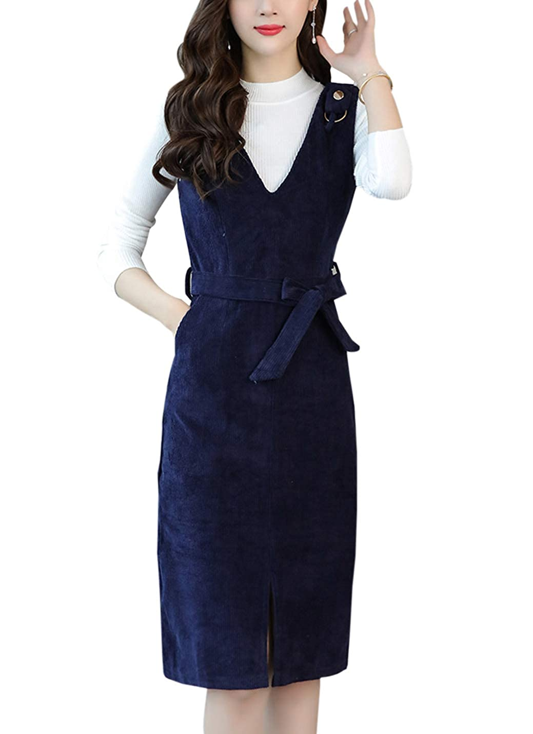 cee273913667 Gihuo Women s Slim Fit V-Neck Corduroy Pinafore Overall Dress with Waist  Belt at Amazon Women s Clothing store