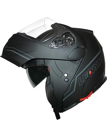 2a4493a1 Leopard DVS Double Visor Modular Flip up front Motorcycle Motorbike Scooter  Helmet Matt Black/Silver