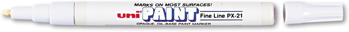 Fine Line White 6-Pack Uni-Paint 63713 PX-21 Oil-Based Permanent Marker