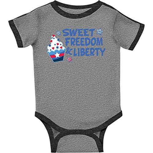 inktastic - Sweet Freedom Infant Creeper Newborn Ringer Heather and Smoke 3651b