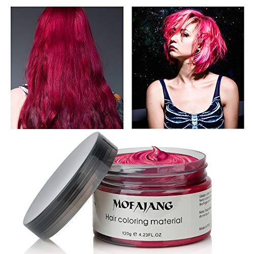MOFAJANG Hair Color Wax Instant Hair Wax Temporary Hairstyle Cream 4.23 oz Hair Pomades Natural Hairstyle Wax for Men and Women (Red)
