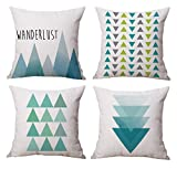 Modern Simple Geometric Style Soft Linen Burlap Square Throw Pillow Covers, 18 x 18 Inches, Pack of 4 (Blue)