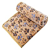 UTOPIPET Pet Blanket for Dog Cat Animal 39 x 31 Inches Fleece Black Paw Print All Year Round Puppy Kitten Bed Warm Sleep Mat Fabric Indoors Outdoors (Brown) Review