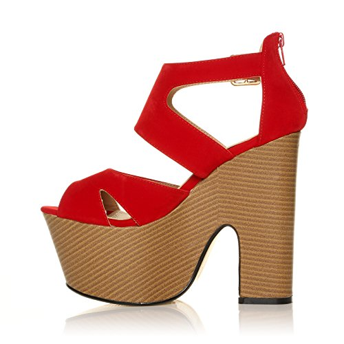 CORE COLLECTION Womens Ladies MIDI Demi Wedge Chunky HIGH Heel Ankle Strap Party Shoes Size 3-8 Red Suede Inu6MHXxUq
