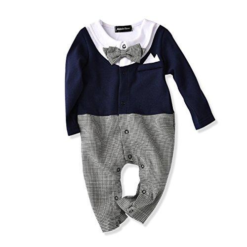 Baby Boys Romper Bowtie Tuxedo Outfit Gentleman Look Jumpsuit 1 pc (90(12-18m))