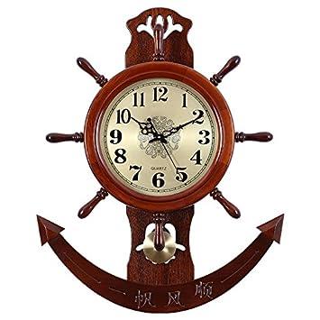 WXIN El Reloj China Viento De Timón De Barco Chino Relojes Reloj De Pared De Sala-Mute Madera Maciza: Amazon.es: Hogar