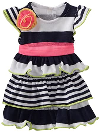 Dollie & Me Little Girls' Striped Tiered Dress with Doll Garment, Navy/White, 4