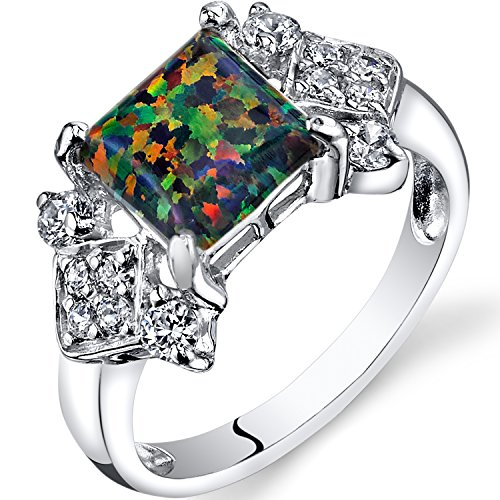 Peora Created Black Opal Majeste Ring Sterling Silver Princess Cut 1.00 Carats Sizes 5 to 9