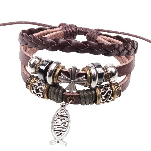 Retro Multilayer Jesus Cross Fish Bracelets Folk Leather Religion Bangle Christian Jewelry for -