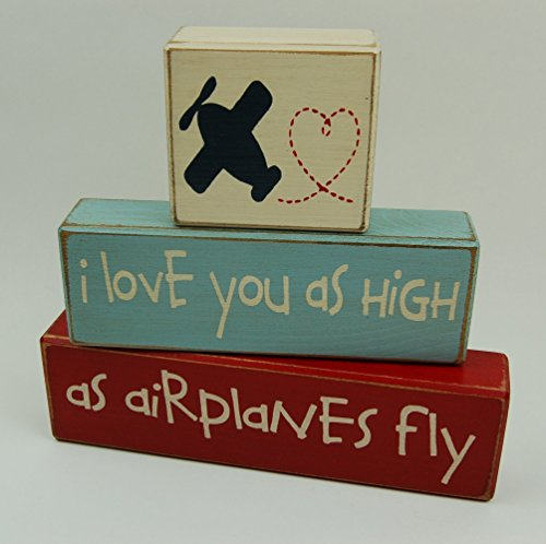 I love you as high as airplanes fly - Primitive Country Wood Stacking Sign Blocks Airplane Theme Decor-Airplane Nursery Room-Airplane Baby Shower-Airplane Birthday Home - Blocks Sign Primitive Country