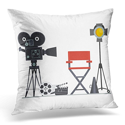 Sdamas Decorative Pillow Cover Film Directors Chair with Megaphone Projector Camera and Clapboard Work on The of Flat Cartoon Objects Throw Pillow Case Square Home Decor Pillowcase 16x16 Inches ()