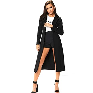 Womens Ladies Long Sleeve Long Line Collared Duster Coat Jacket Top Size UK 8-14